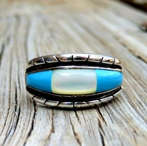 Vintage Ted OTT Navajo 925 Turquoise & MOP Ring